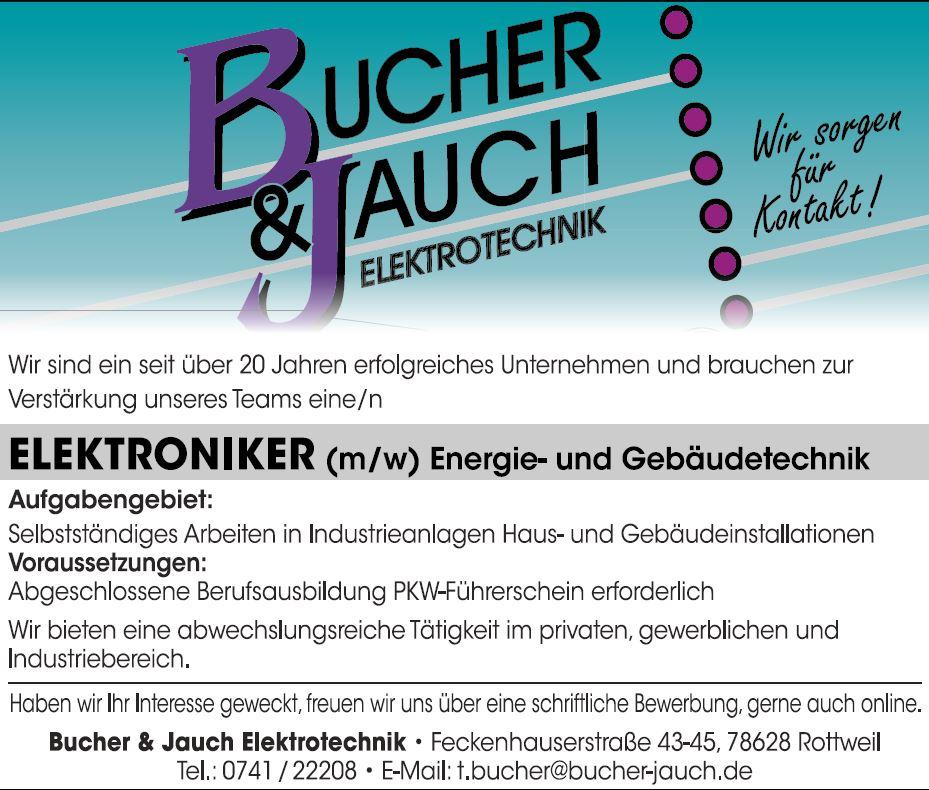 Stellenanzeige Elektroniker - Bucher und Jauch